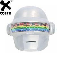 XCOSER Daft Punk Helmet Halloween Masks Brand Sale Voice Control Version PVC White Full Head Cosplay Helmet With LED Lights