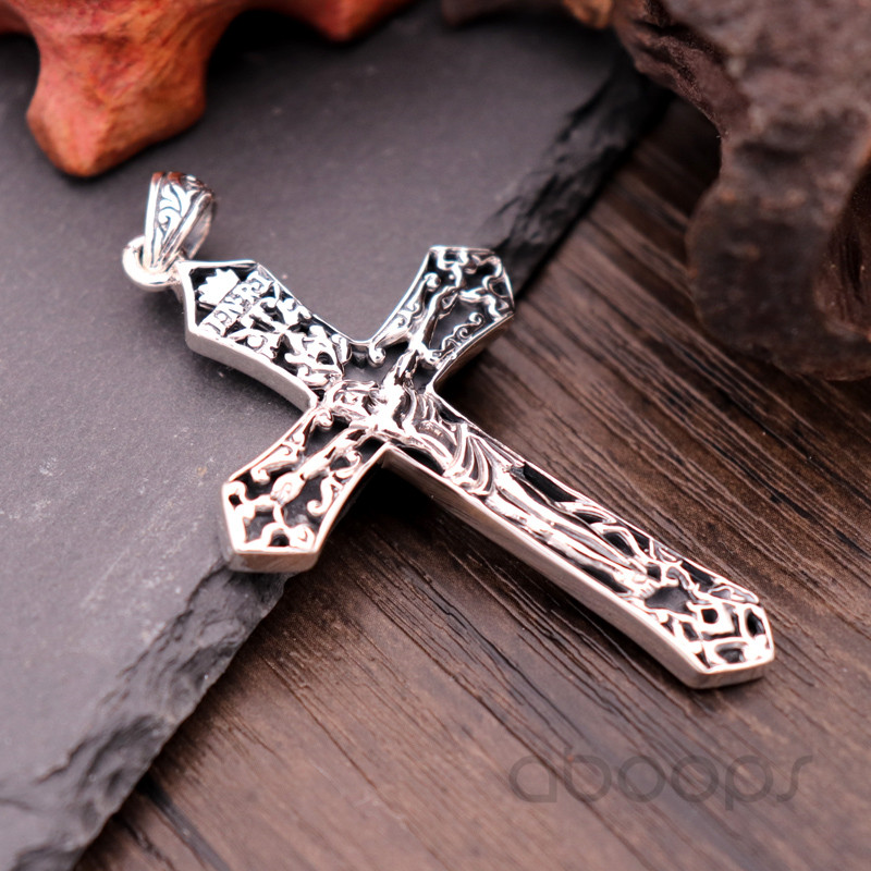 Vintage Solid Real 925 Sterling Silver Christian Jesus Christ Crucifix Cross Necklace Pendant for Men Free Shipping in Pendants from Jewelry Accessories