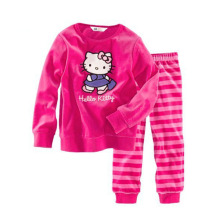 free shipping girl lovely pajamas full sleeve cotton baby cat pajamas cartoon character one color 2 pcs set