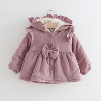 Baby coat winter girls coat kids clothes keep warm corduroy Hooded Jacket for 1 3years infant coat