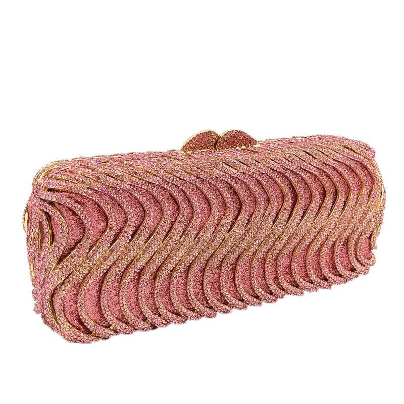Boutique De FGG różowy kolor kryształ kobiety torebka wieczorowa metalowy diament Mianudiere torebka dla nowożeńców sprzęgła ślubne torebka imprezowa w Torby z uchwytem od Bagaże i torby na  Grupa 3