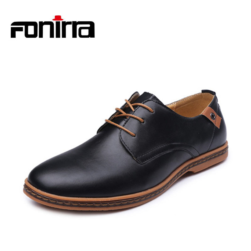 FONIRRA Men Casual Shoes 2017 PU Leather Lace-up Plus Size 38-48 Flat With Shoes Pointed Toe Oxfords Business Shoes 208 patent leather men s business pointed toe shoes men oxfords lace up men wedding shoes dress shoe plus size 47 48