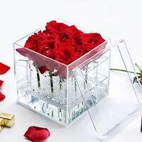 Акриловые розы дисплей ящик для хранения косметики организатор косметический держатель цветок подарочной коробке чехол с крышкой оптом