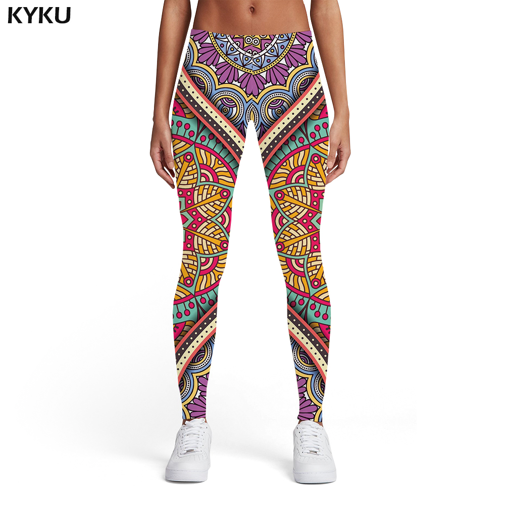 KYKU Brand Flower   Leggings   Women Graphics Ladies Colorful 3d Print Vintage Printed pants Harajuku Leggins Womens   Leggings   Pants