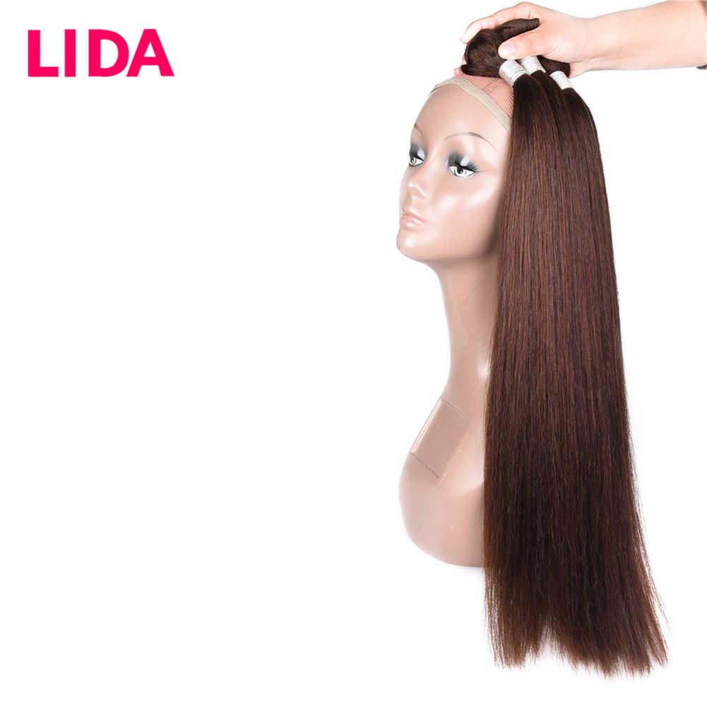 LIDA Human Hair Bundles Double Weft Malaysian Hair Weave Bundles 8-26 inch Remy Straight Hair Bundles For 3 Bundles Deal