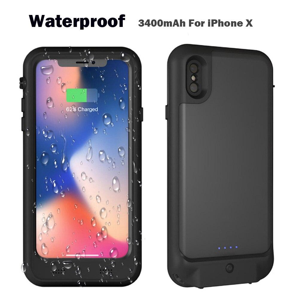 Le plus récent Plein 3400 mah Étanche Écran Protecteur Rechargeable Puissance Chargeur Cas Externe Batterie Chargeur Cas pour l'iphone X