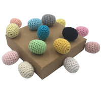 Baby Teether DIY Rainbow Teething Wood Beads Crochet Colour Mix Ball Knit 25*20mm(0.98*0.79in)For Baby Teething Necklace Decorat