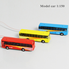 10pcs/lot Scale Model Light Cars 1:150 Alloy Model Bus Model Toy Layout Scale Light Bus Model with LED