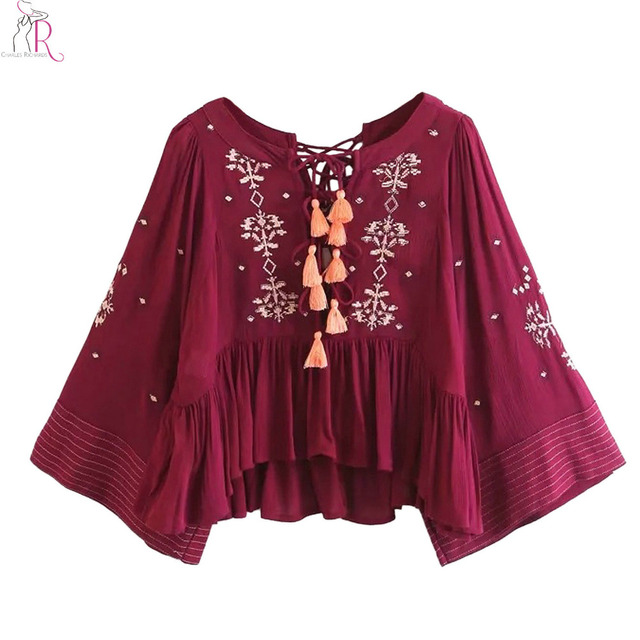 Burgundy Embroidery Floral Blouse Women Tassels Lace Up Front and Back  Flared Long Sleeve Folk Style Casual Loose Top 8a62ce9cc