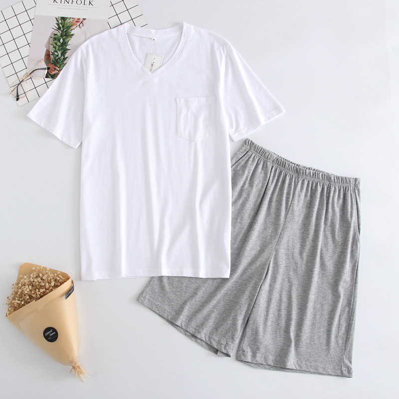 New Men's Thin Summer T-shirt Cotton Knitted Men Sleepwear Short Sleeve Top Shorts Free Combination Pajamas V-Neck Home Pyjamas