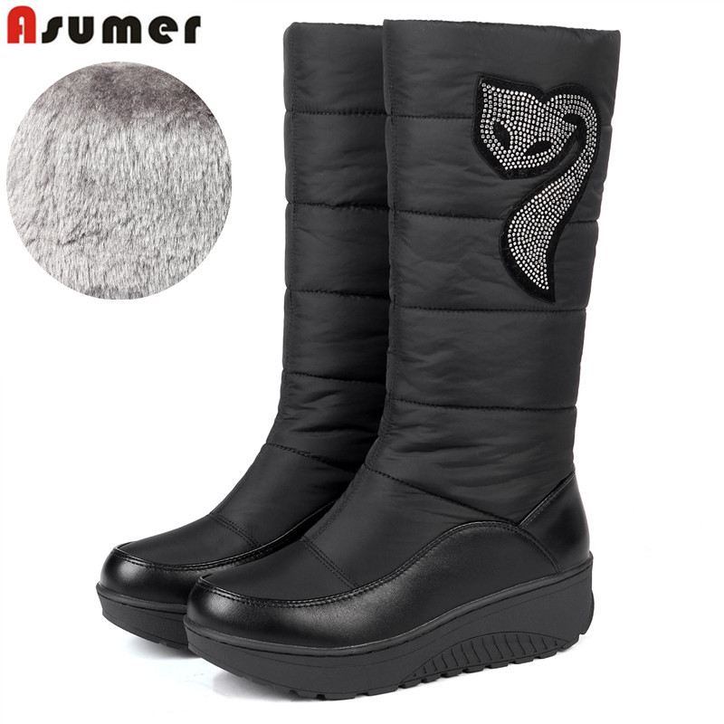 ASUMER HOT 2018 Winter Russia keep warm snow boots women Cotton shoes fashion platform down fur boots half knee high boots fashion keep warm winter women boots snow boots 2017 buckle cotton boots women boots shoes