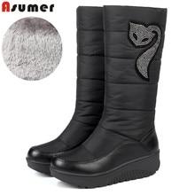 ASUMER HOT 2018 Winter Russia keep warm snow boots women Cotton shoes fashion platform down fur