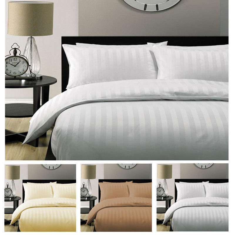5 Star Hotel Quality STRIPE Luxury Quilt Doona Duvet Cover Duvet Cover 100% Cotton White Satin 150 200 230 220 240