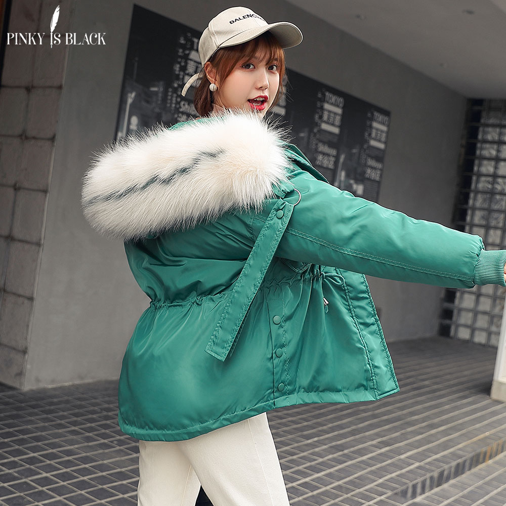PinkyIsBlack Winter Jacket Women Thick Warm Hooded   Parka   Mujer Cotton Padded Coat Short Paragraph Big Fur Jacket Coat Female