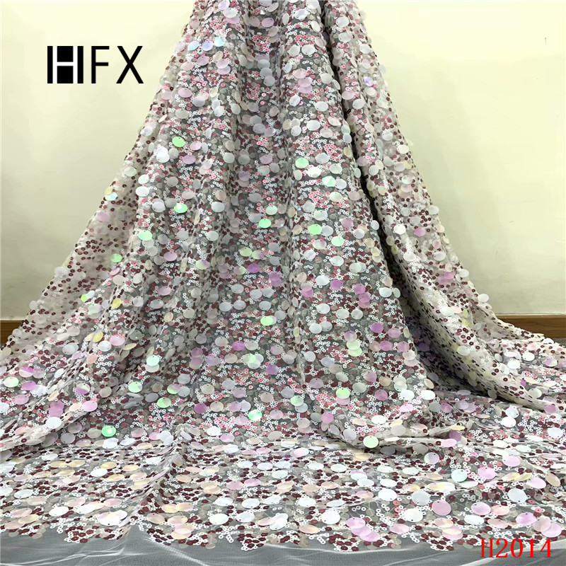 HFX luxury sequins lace fabric 2019 latest sequin fabric high quality french lace fabric with 3d sequins free shipping F2014