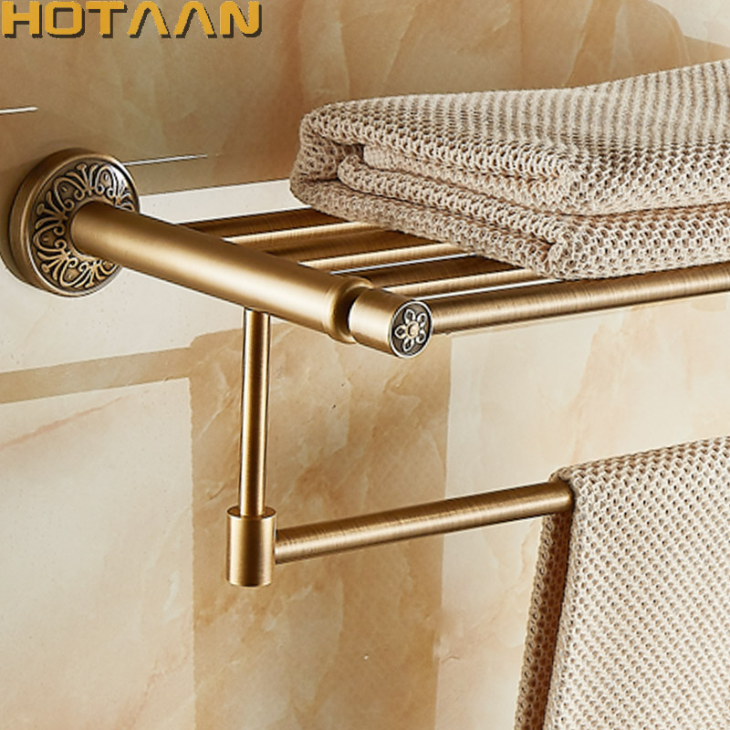 Aluminum Wall Mounted Square Antique Brass Bath Towel Rack Active Bathroom Towel Holder Double Towel Shelf Bathroom Accessories nail free foldable antique brass bath towel rack active bathroom towel holder double towel shelf with hooks bathroom accessories