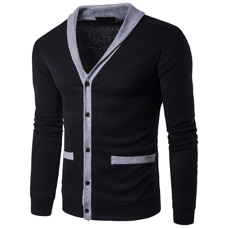 2017, Новая мода осень лоскутное мужские свитеры высокое качество v-образным вырезом сращивания Тонкий кардиган повседневное пальто Мужчины ...