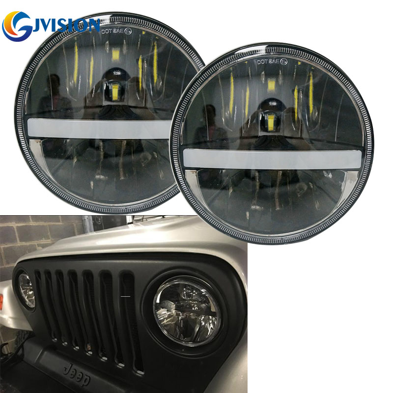 Black 7'' Round H4 headlight High/Low Dual beam projector headlamp with White DRL Amber Turn signal lights for Jeep Wrangler JK 1pcs 7 80w headlamp led headlight with drl for jeep wrangler jk tj fj harley off road lights high low beam new free shipping