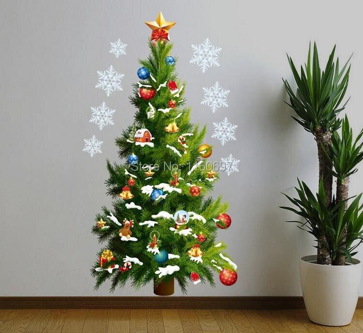 diy adornos navidad merry christmas tree etiqueta de la pared unids de halloween navidad