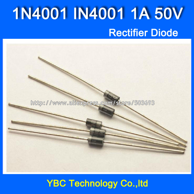 <font><b>1000pcs</b></font>/lot <font><b>1N4001</b></font> IN4001 1A/50V Rectifier Diode Big Power and Long Pins image