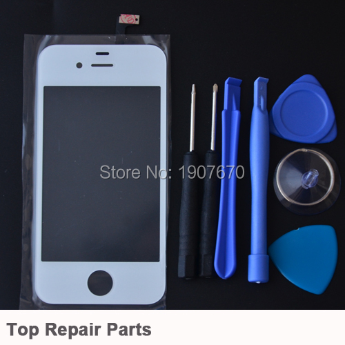 Hot 4S White ouch Panel Digitizer Front Panel Glass for iPhone 4 4G Touch Screen Digitizer Replacement+Free Tools