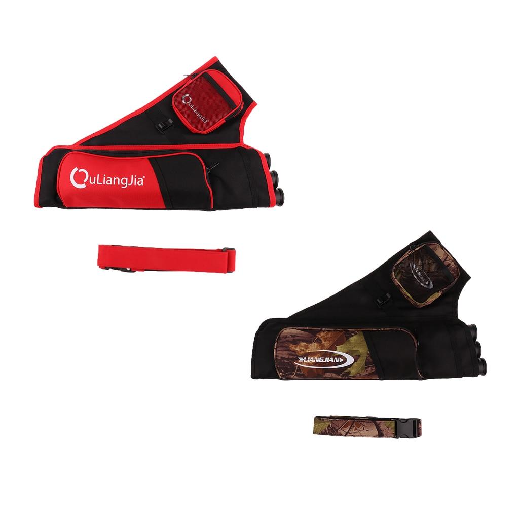 Premium Three-Tubes Archery Arrow Hip Quiver Holder Bag with Adjustable Belt