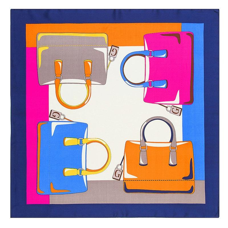 MENGLINXI 60cm*60cm 2019 New Luxury Brand Letter G Bag Women Twill Silk Scarf Small Square Scarves Print Headband Hijab