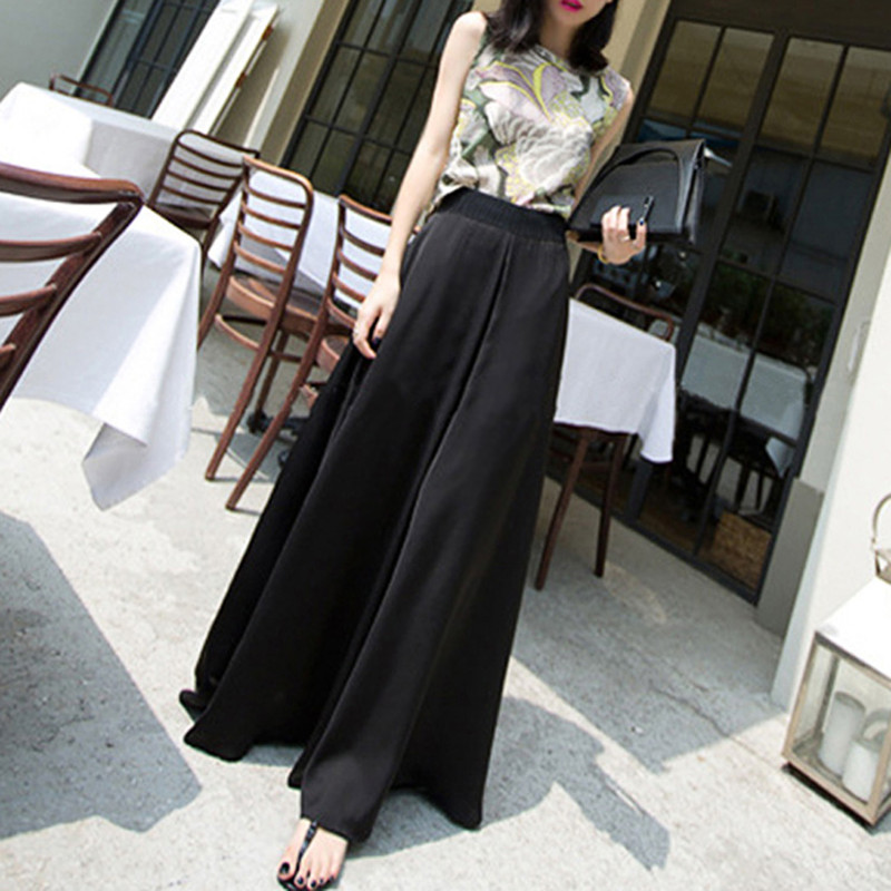 Summer New 2019 Women Casual Loose Chiffon   Wide     Leg     Pants   Female High Waist Full Length   Pant   Holiday Beach Trousers Black Beige