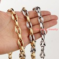 "7-40"" Silver Gold Coffee Beans Link Chain for Mens Womens Necklace Bracelet Set New Male Hollow out Stainless Steel Cool Jewelry"