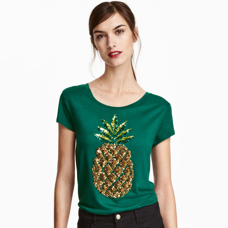2017 New Women Summer T Shirt Pineapple Print Fashion T Shirts Green Sequined Tops Female Short ...
