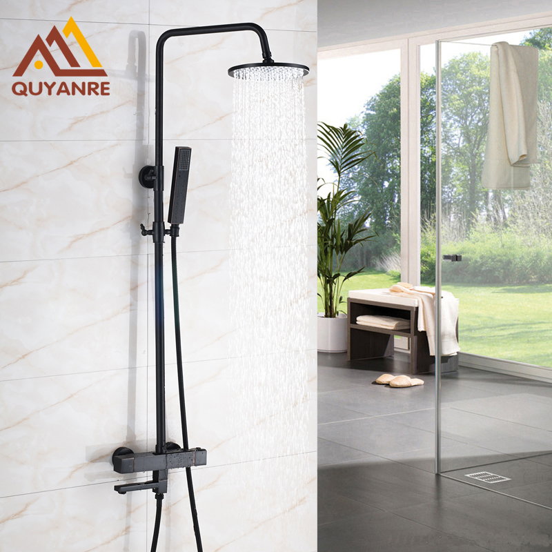 Contemporary Black Bath & Shower Faucets Wall Mounted Thermostatic Faucets Hot and Cold Mixer Faucet wall mounted two handle auto thermostatic control shower mixer thermostatic faucet shower taps chrome finish