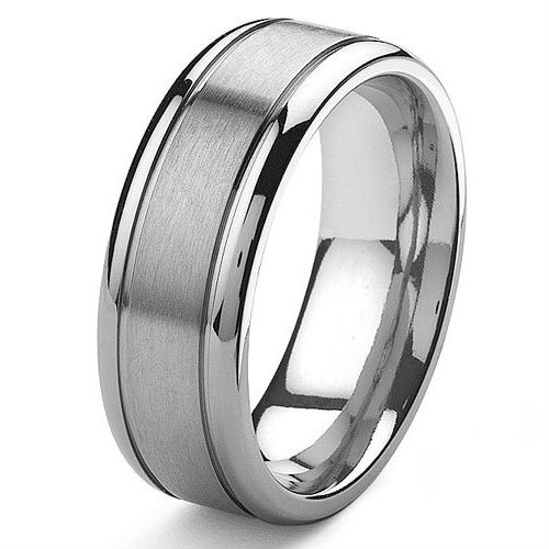 Tailor Made 8mm Mens Grooved Titanium Wedding Band Ring Small Size 3 to Large Size 18 (#TR13)