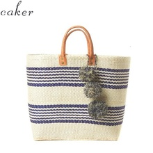 Caker Brand 2017 Women Straw Bag Contrast Color Stripe Handbag Large Big Tote Pattern Beach Colorful Tassel