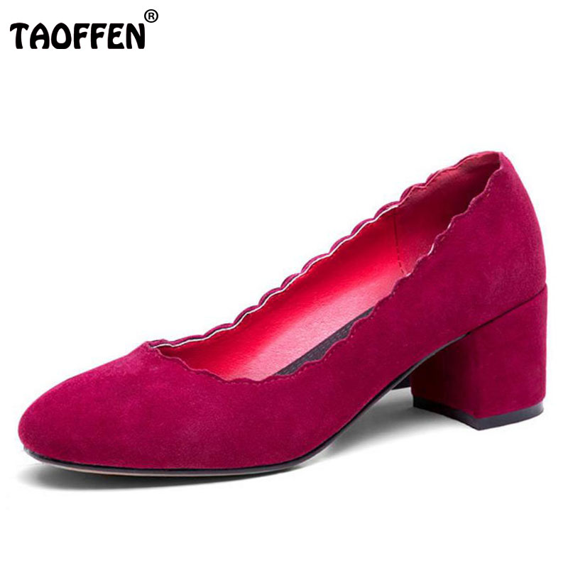 TAOFFEN Size 33-44 Women Real Leather Thick High Heels Pumps Women Ruffles Slip On Shallow Shoes Women Handmade Leisure Pumps artmu women high heels shoes two kinds of wear methods shoes female handmade leather shoes women pumps slip on shoes