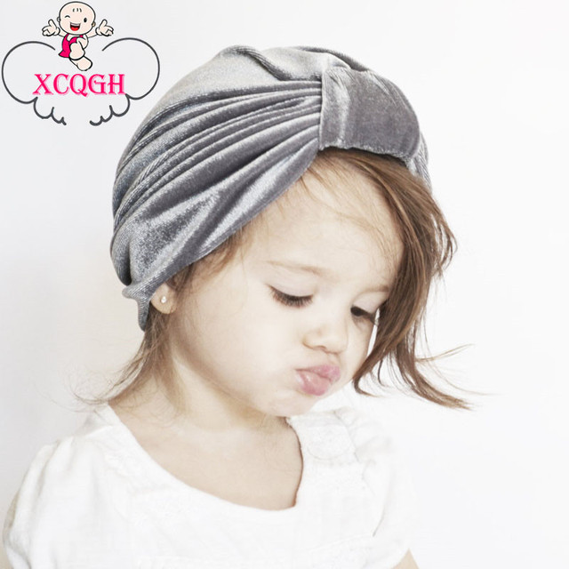 65a2d57194d XCQGH Velvet Tie India Knot Baby Girl Hat Solid Color Cap for Infant  Toddler Newborn Baby