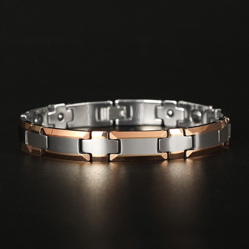 Heavy Steel Tungsten Gold Bracelet Cross Tungsten Steel Jewelry Rose Plated Magnet Lovers BraceletHeavy Steel Tungsten Gold Bracelet Cross Tungsten Steel Jewelry Rose Plated Magnet Lovers Bracelet