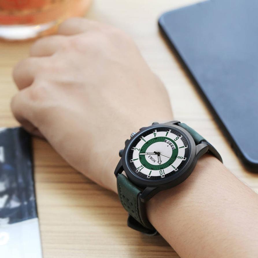 2018 Prawdziwy Top Sprzedaży Luksusowa Moda Żel krzemionkowy Skóra - Męskie zegarki - Zdjęcie 5