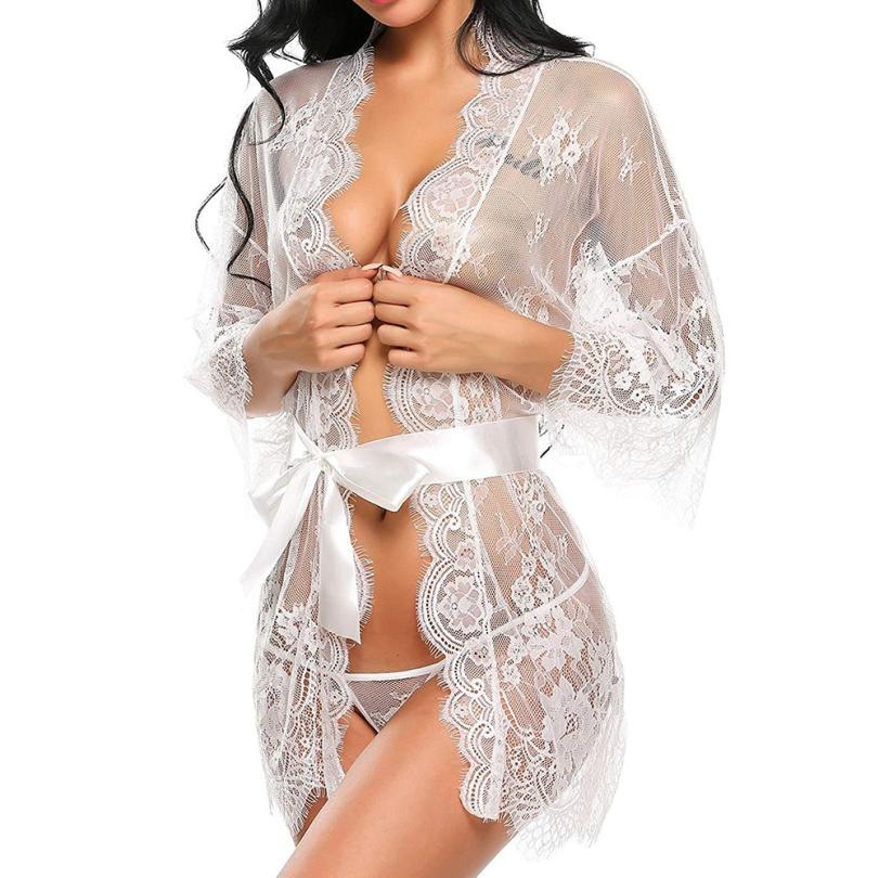 4008694f4941 Women Sexy Lingerie Babydoll Sleepwear Underwear Hot Lace Open Bra Erotic  Teddy Sexy Costumes Nightwear Briefs Belt  XY1950-in Babydolls   Chemises  from ...