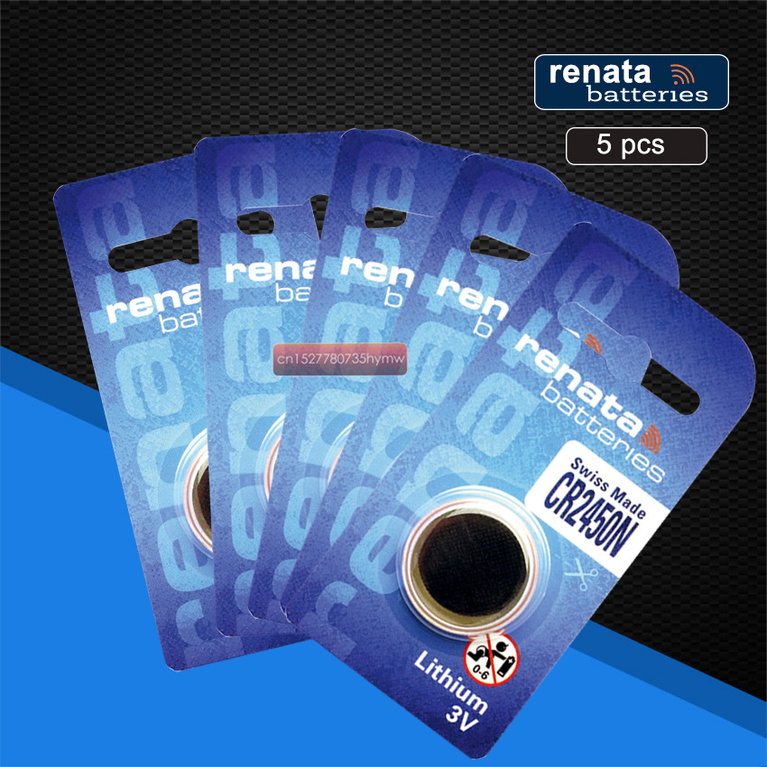 5pc New Original Renata CR2450 CR 2450 3V Lithium Button Cell <font><b>Battery</b></font> Coin <font><b>Batteries</b></font> For Watches,clocks,hearing aids image