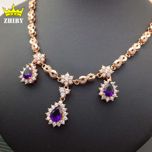 Natural Amethyst Gem Necklace Woman Semi Precious Stone Pendant Solid 925 Sterling Silver Lady's Fine Jewelry