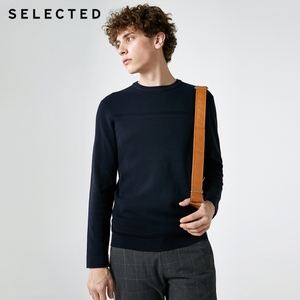 Image 3 - SELECTED New 100% Cotton Business Casual Pullover Knitted Mens Pure Color Sweater Clothes S