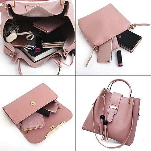 3 Pcs Women Handbag Set 2019 Messenger Bags Ladies Fashion Shoulder Bag Lady PU Leather Casual Female Shopper Tote Sac Femme #N