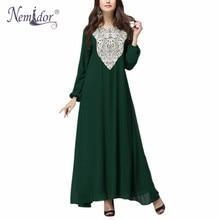 Nemidor 2016 Hanım Casual Çiçekli Uzun Kollu Patchwork Elbise Gevşek O-Boyun Artı Boyutu Uzun Elbise