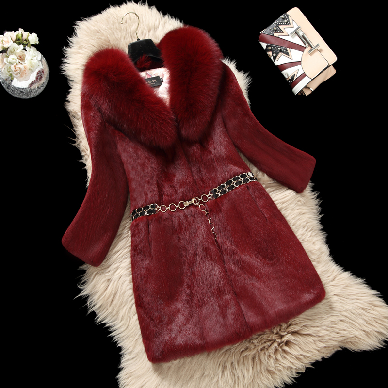 Large Fox Fur Collar Plus Size M - 6XL Natural Rabbit Fur Coats Outerwear Women Whole Skin Real Fur Jackets 2018 Autumn Winter