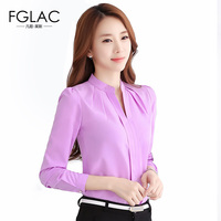 Chiffon Blouses New 2016 Autumn Women Shirt Fashion Casual Long Sleeved Chiffon Shirt Elegant Slim Solid