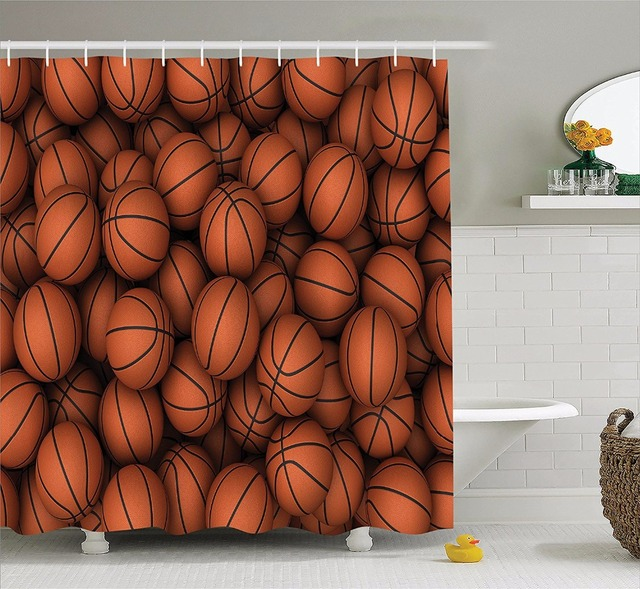 High Quality Arts Shower Curtains Sports Series Basketball With A Push Of Coffee Bathroom Decorative Modern