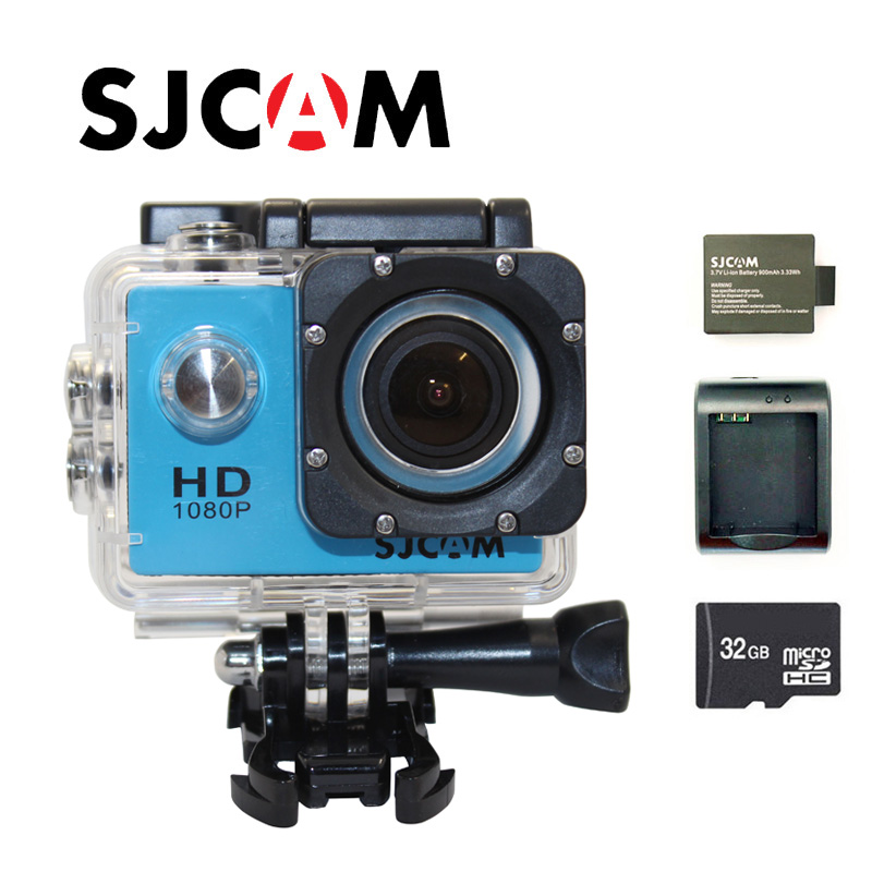 цена Free shipping!!Original SJCAM SJ4000 FHD 1080P Waterproof Action Camera Sport DVR+Extra 1pcs battery+Battery Charger+32GB Card