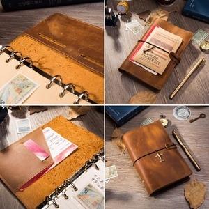 Image 4 - Lederen Travel Notebook Journal Dagboek Handgemaakte 100% Vintage Klassieke Hardcover Kantoor School Briefpapier Schetsboek A6 A7 A5