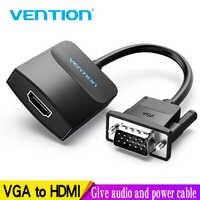 Vention VGA a HDMI adaptador con soporte de Audio 1080P para ordenador portátil a HDTV proyector Video Audio convertidor vga hdmi convertidor 1m