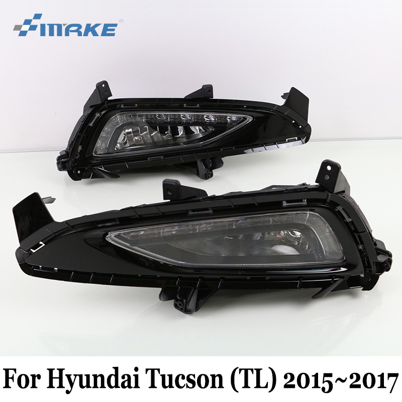 SMRKE DRL For Hyundai Tucson (TL) 2015~2017 / Car LED Daytime Running Lights With Fog Lamp House / Day Driving Lamp Car Styling smrke drl for hyundai santa fe dm 2012 2015 car daytime running lights with fog lamp frame two colors light guide car styling